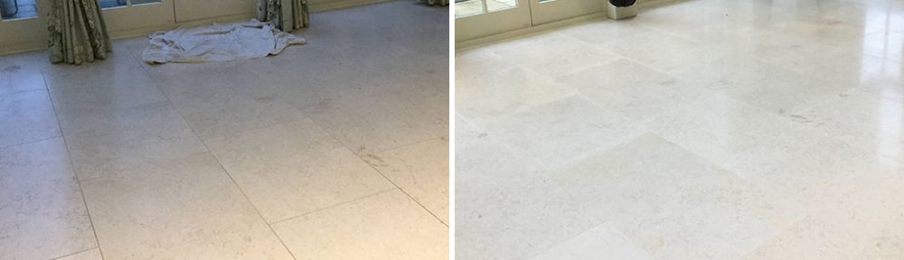 Honed Limestone Floor Renovated in Ecton