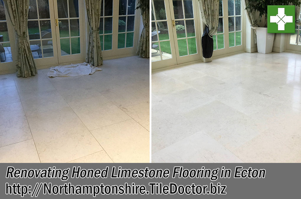 Limestone Tiled Flooring Before and After Renovating Ecton