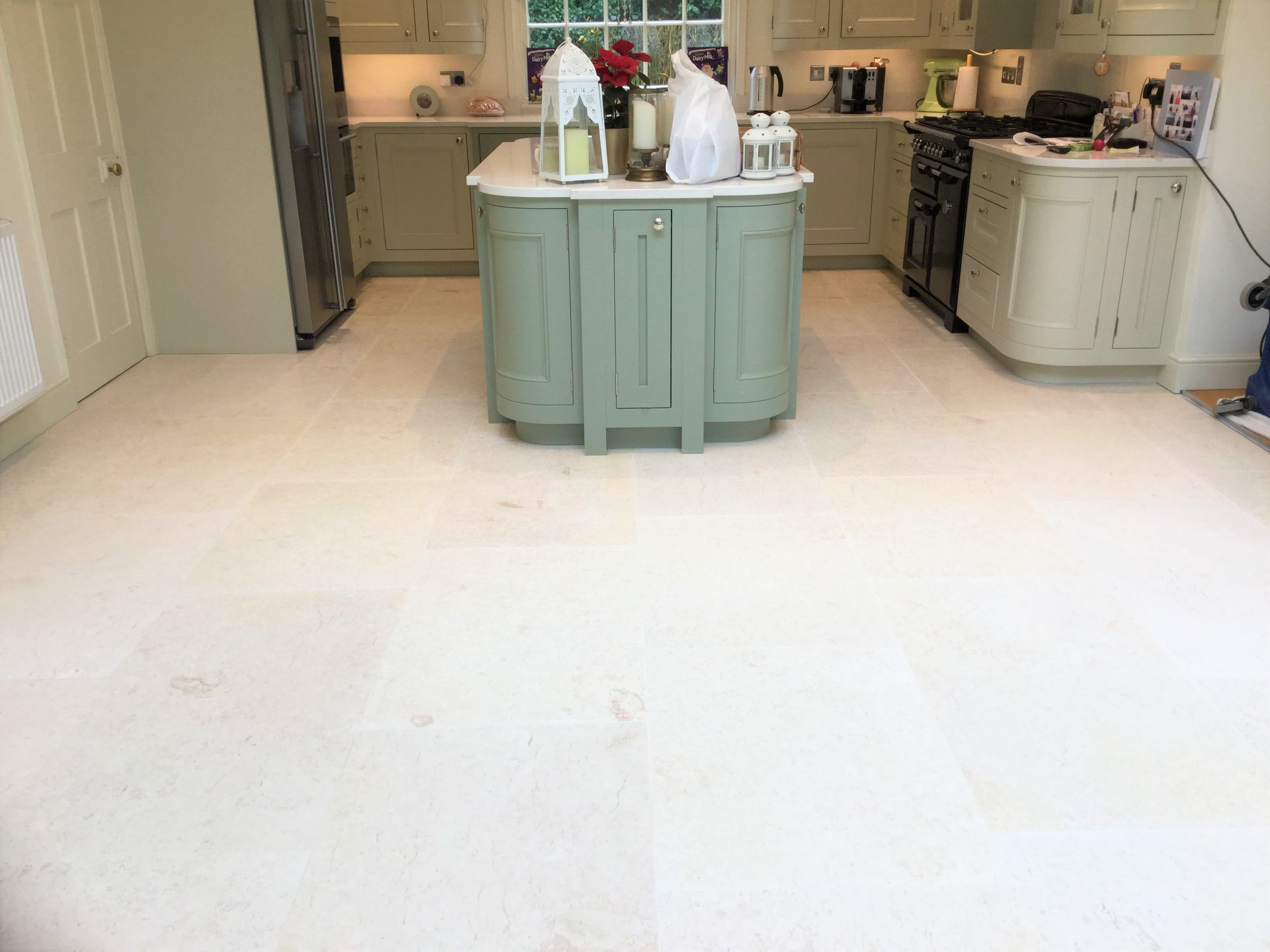 Limestone Tiled Kitchen Floor After Renovation Ecton
