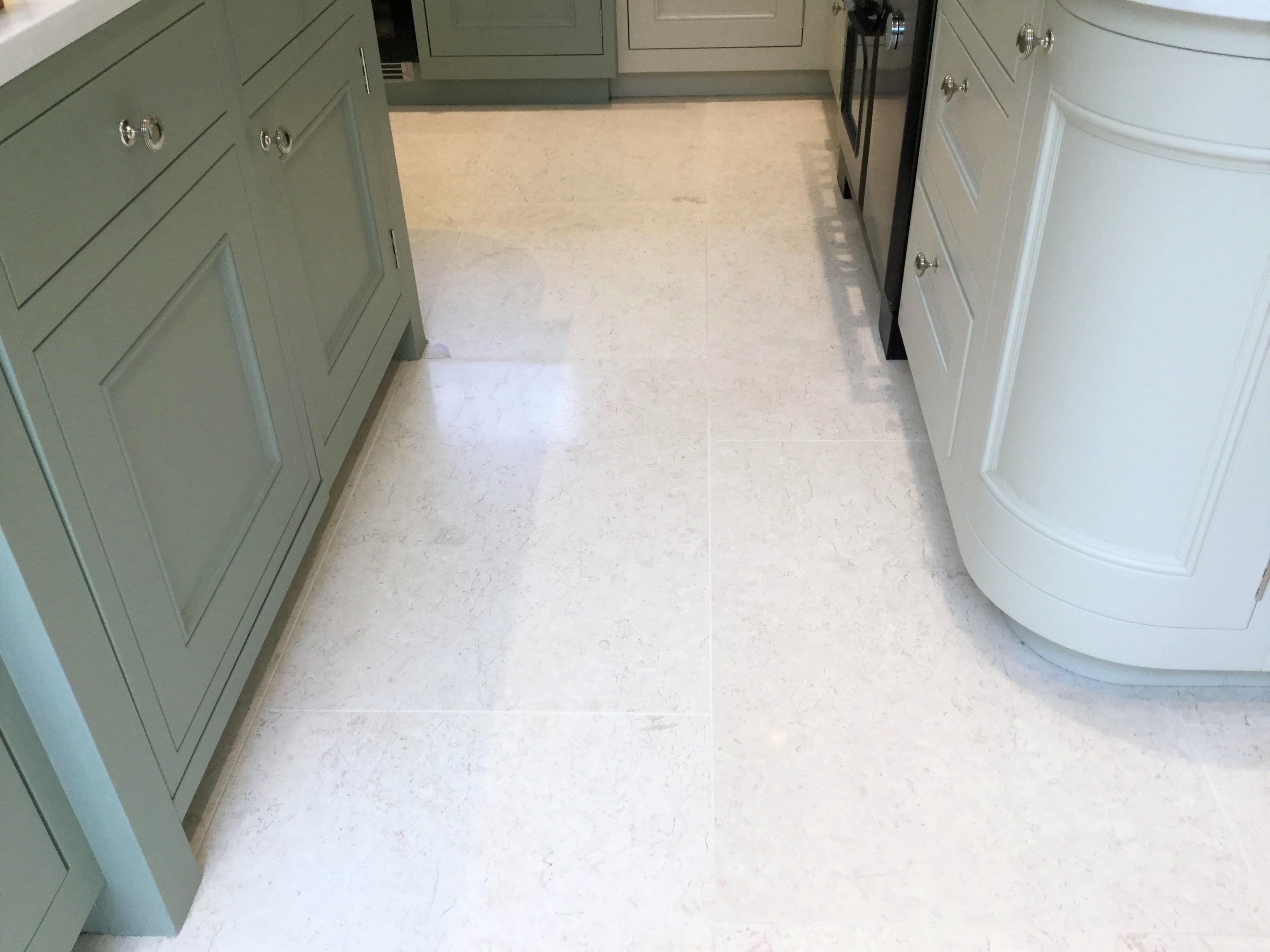 Limestone Tiled Kitchen Floor After Renovation Ecton