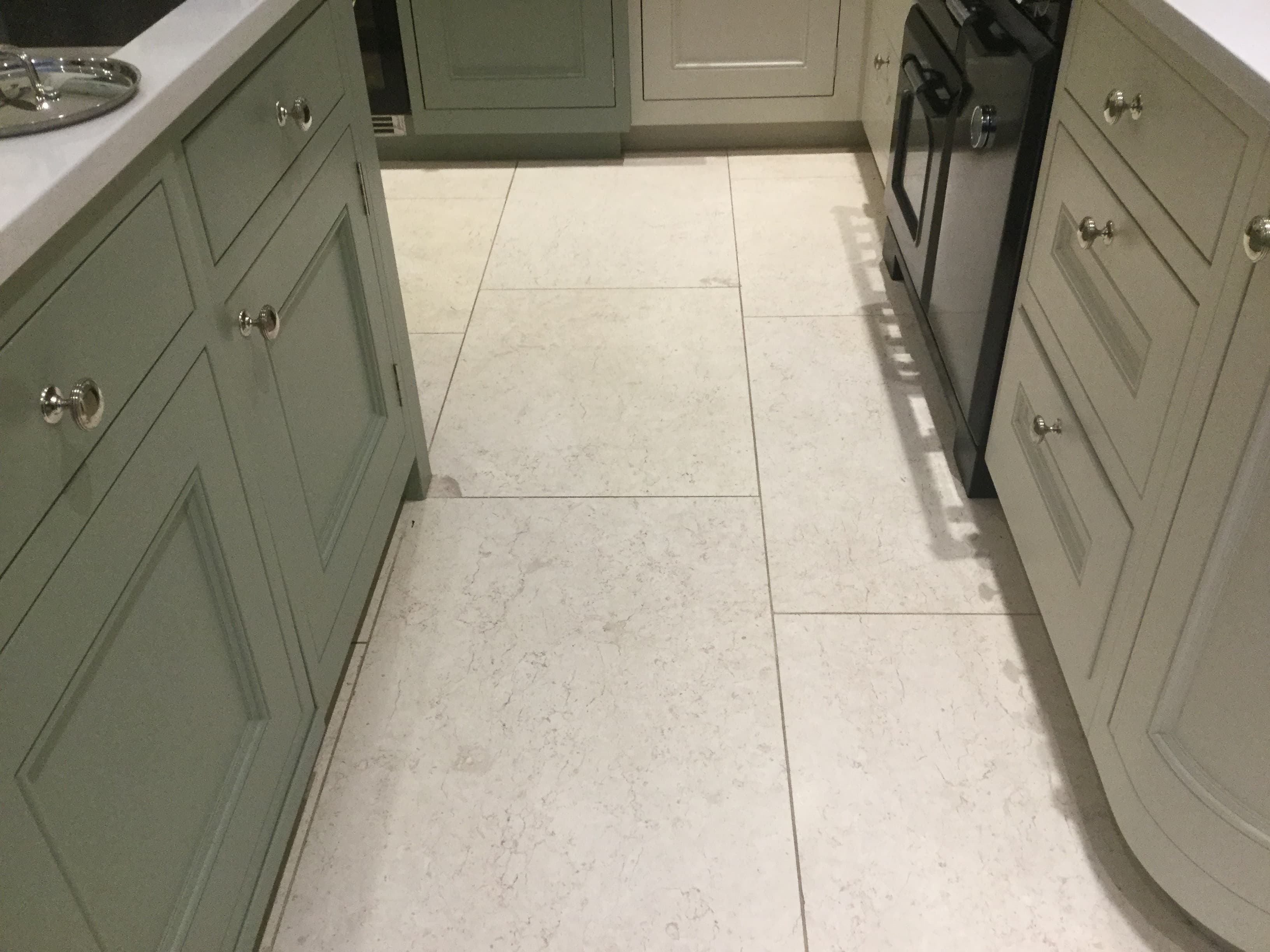 Limestone Tiled Kitchen Floor Before Renovation Ecton