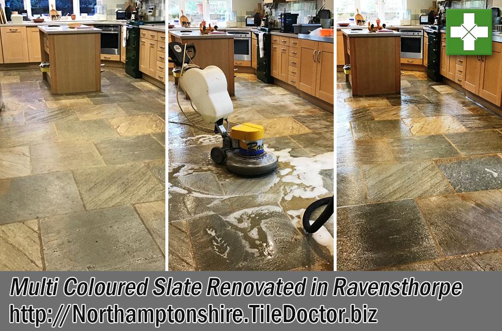Slate Tiled Floor Before and After Renovation Ravensthorpe