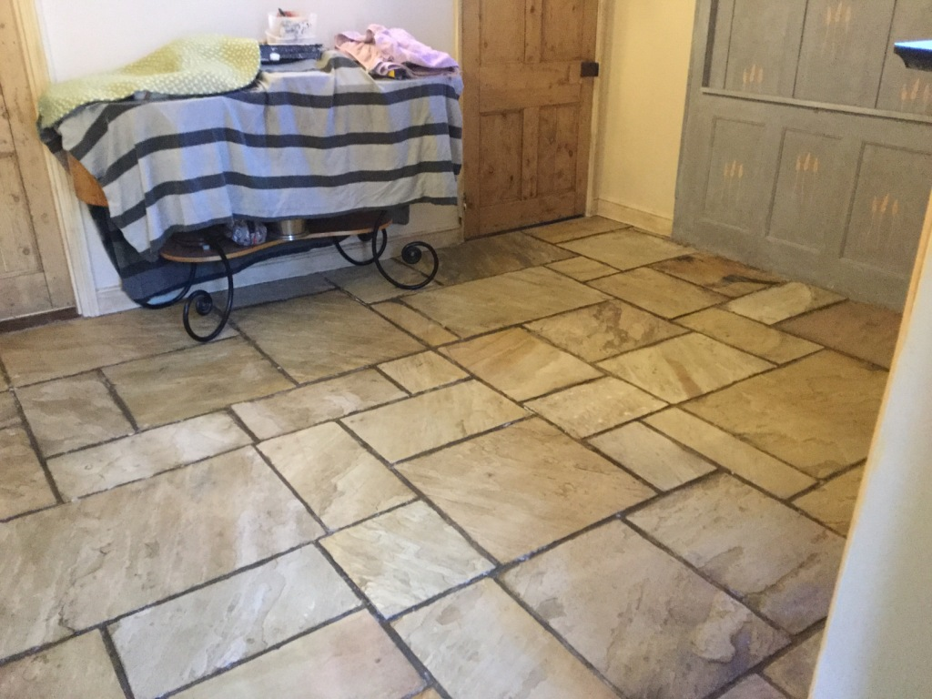 Flagstone Floor After Clean Seal Long Buckby
