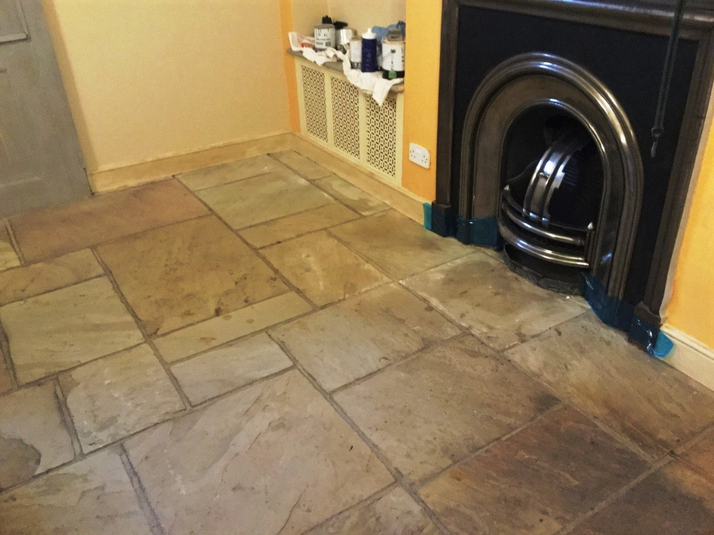 Flagstone Floor Before Cleaning Long Buckby