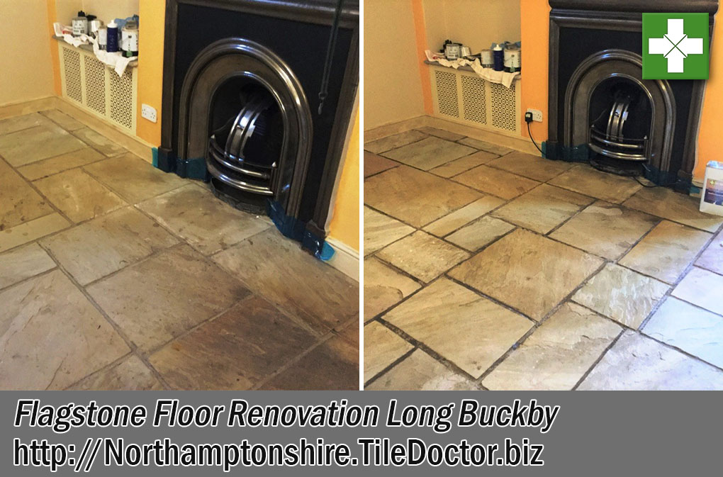 Flagstone Tile and Grout Before After Cleaning Long Buckby
