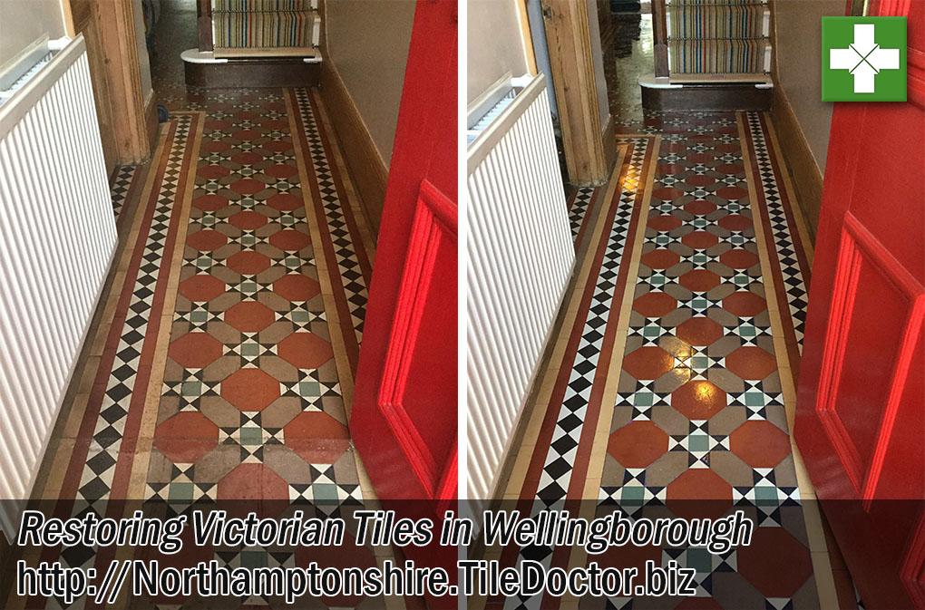 Victorian Hallway Tiles Before After Restoration Wellingborough