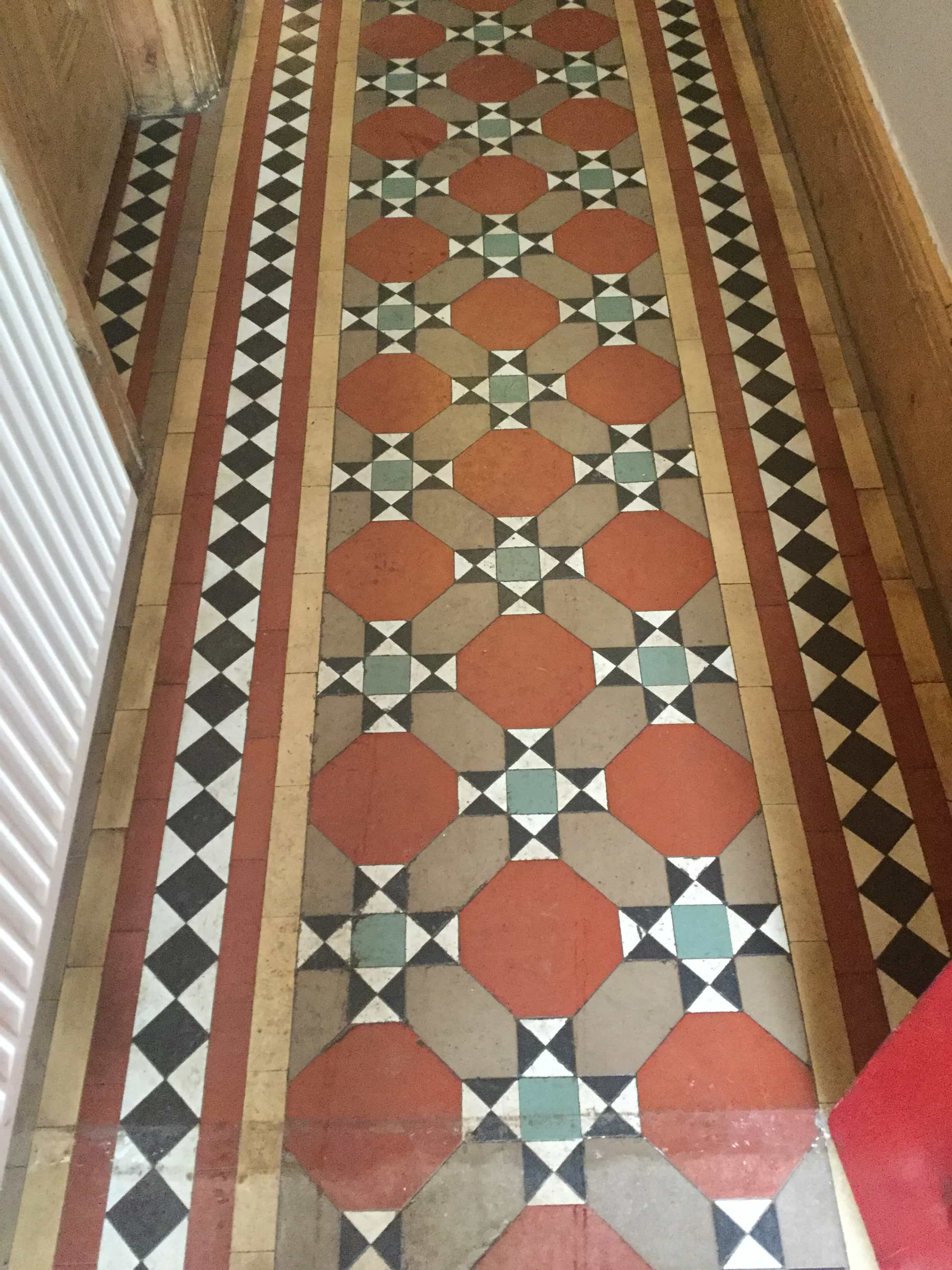 Victorian Tiled Hallway Floor Wellingborough Before Restoration