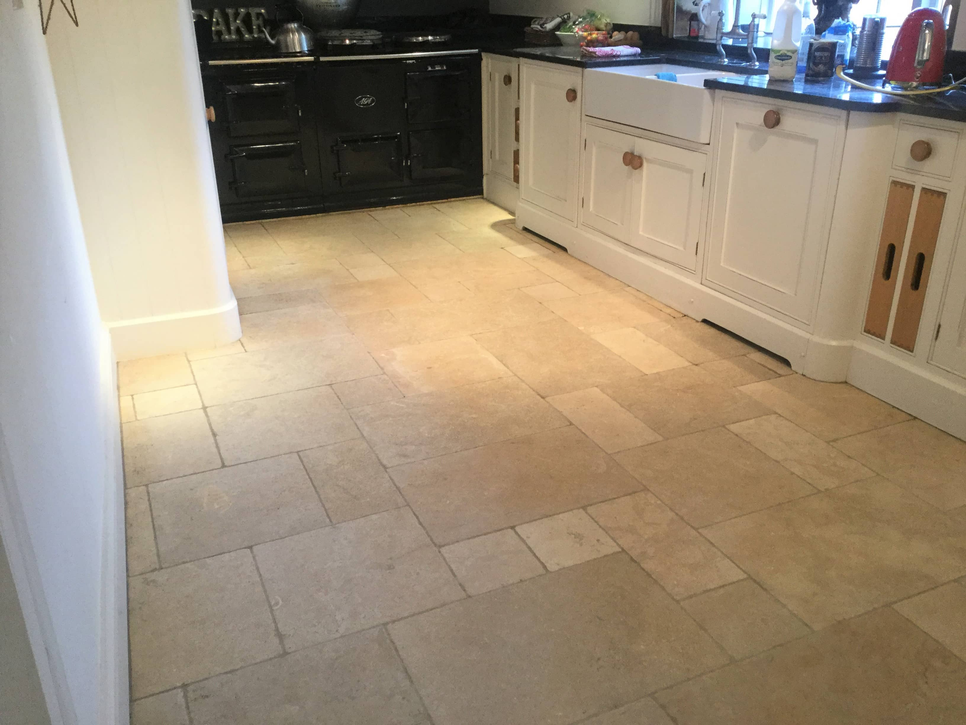 Limestone Kitchen Floor After Renovation Yelvertoft