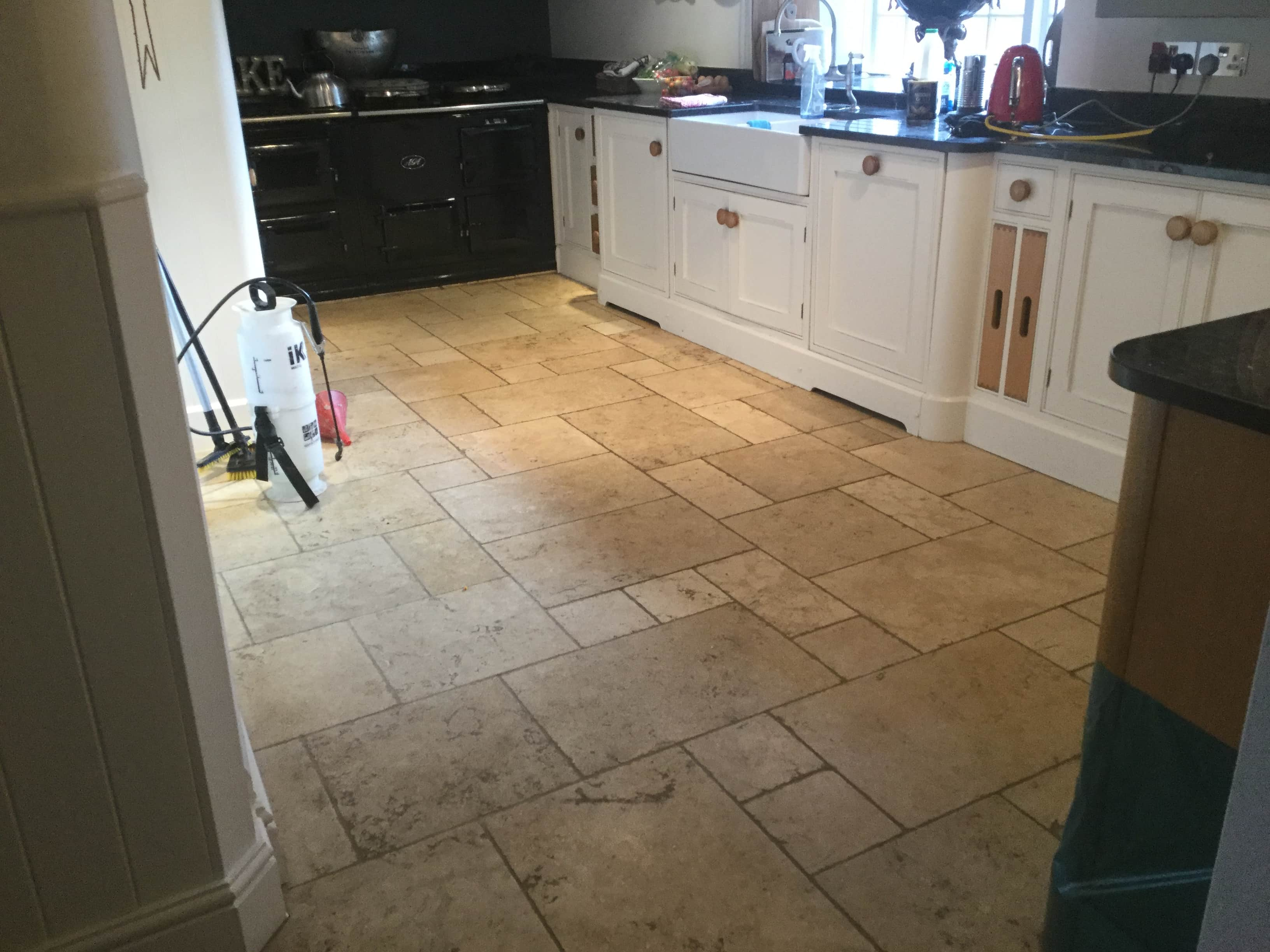Limestone Kitchen Floor Before Renovation Yelvertoft