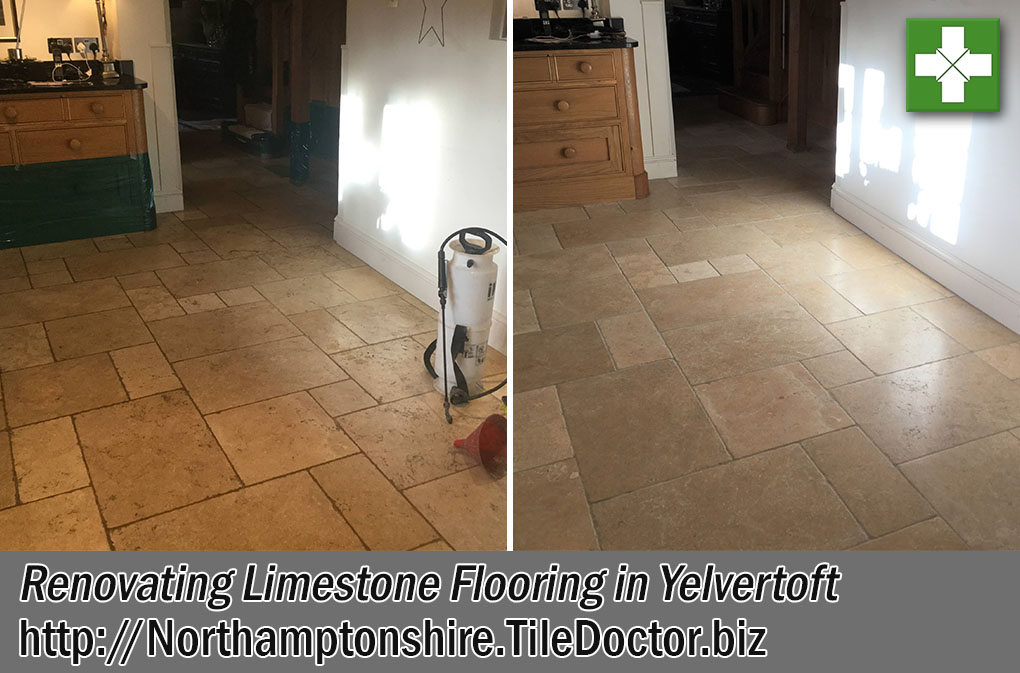 Limestone Tiled Floor Before After Cleaning and polishing Yelvertoft