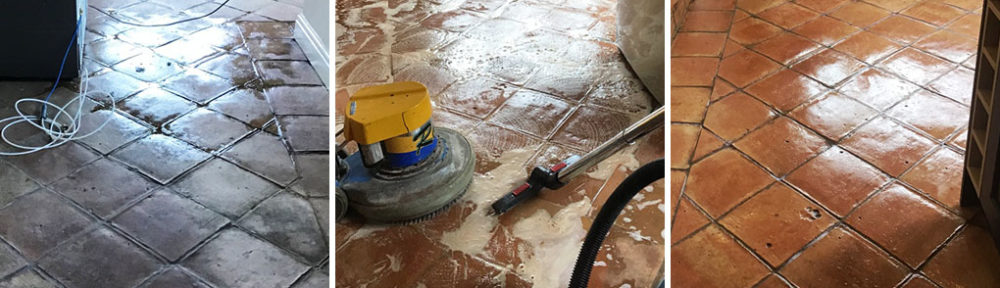 Cleaning a Terracotta Tiled Kitchen Floor in Moulton