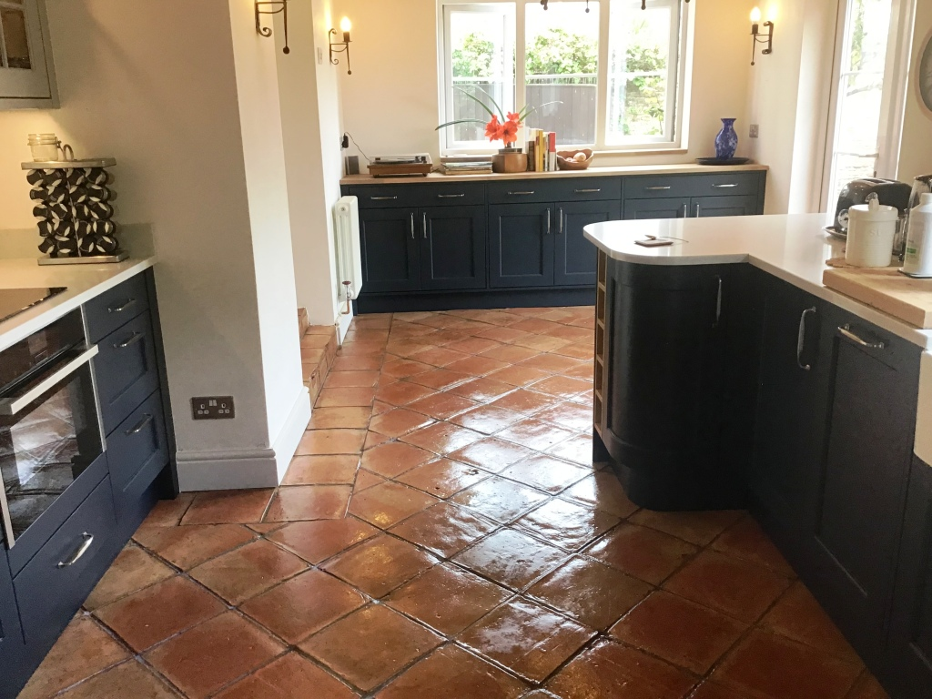 Terracotta Tiled Kitchen Floor After Restoration Moulton