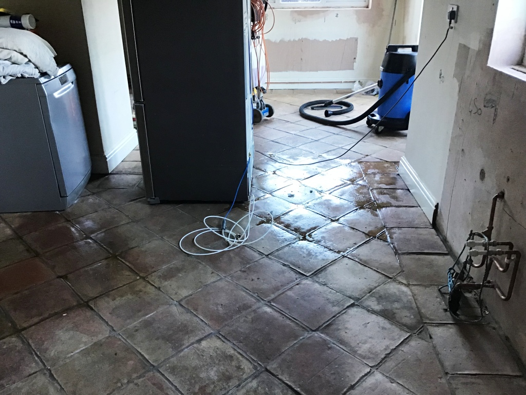 Terracotta Tiled Kitchen Floor Before Restoration Moulton
