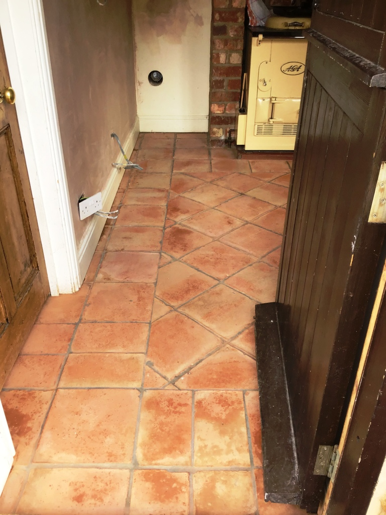 Terracotta Tiled Kitchen Floor During Restoration Moulton