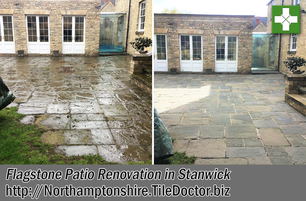 Flagstone Patio Before After Renovation Stanwick