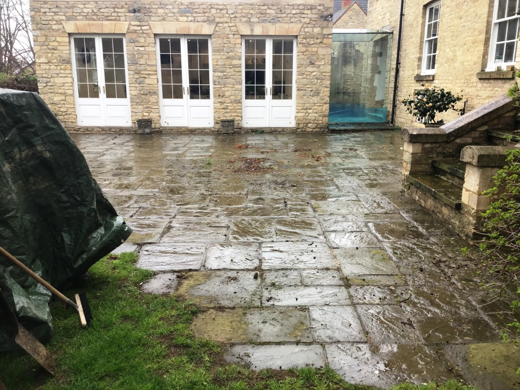 Flagstone Patio Before Cleaning Stanwick