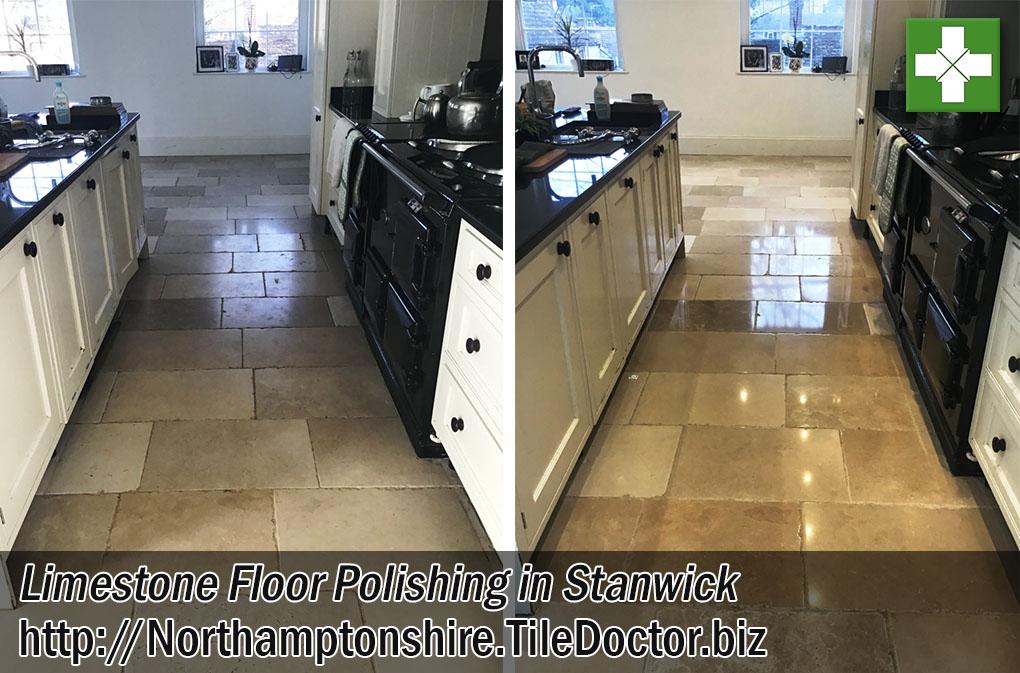 Kitchen Limestone Floor Polishing in Stanwick