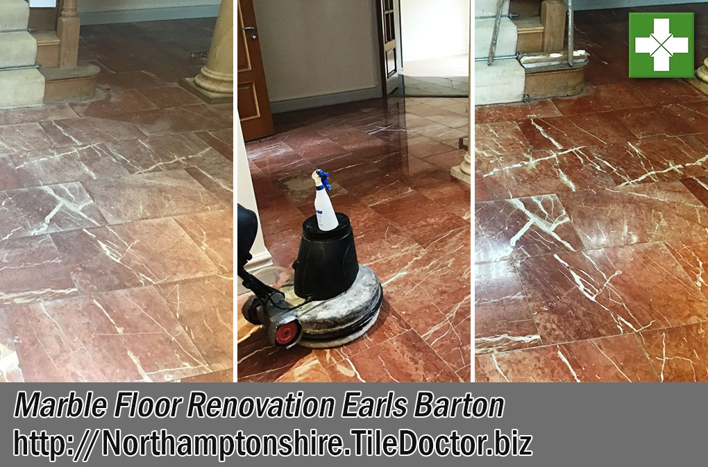Marble Hallway Floor Before After Renovation Earls Barton