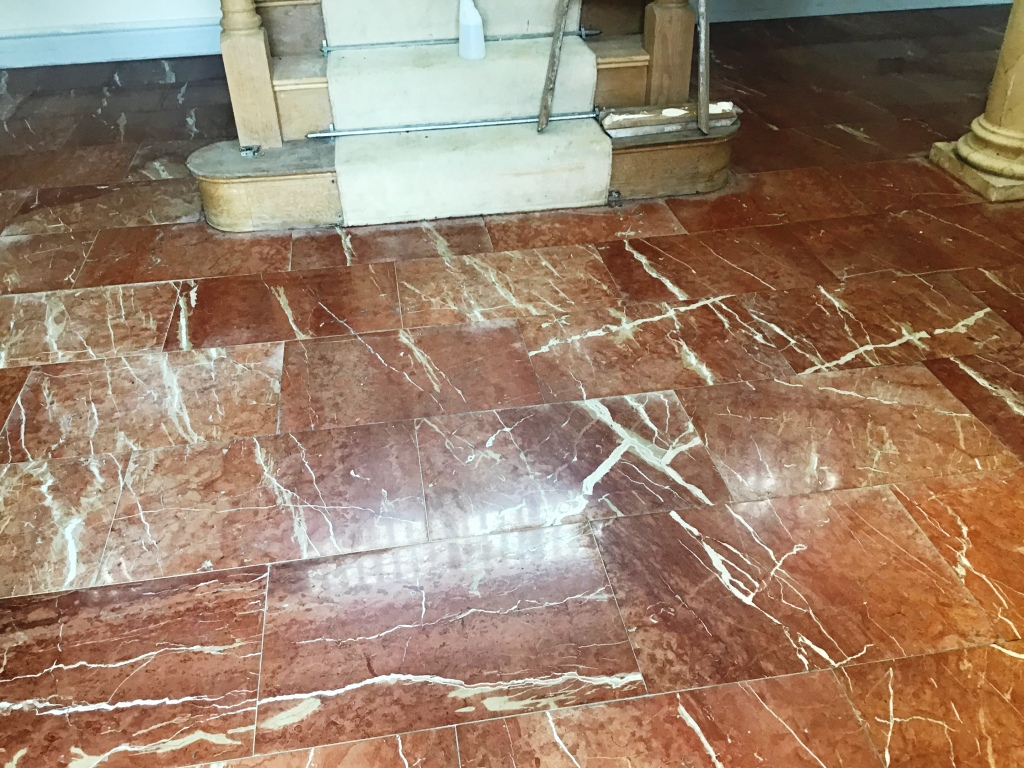 Water Stained Marble Floor After Renovation Earls Barton
