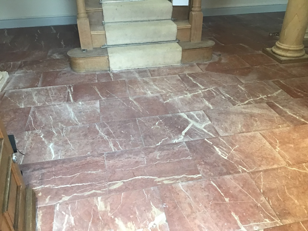 Water Stained Marble Floor Before Renovation Earls Barton