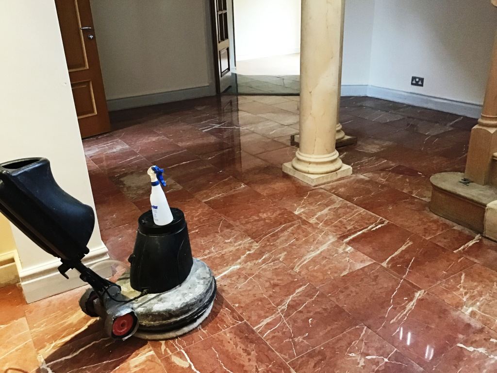 Water Stained Marble Floor During Renovation Earls Barton