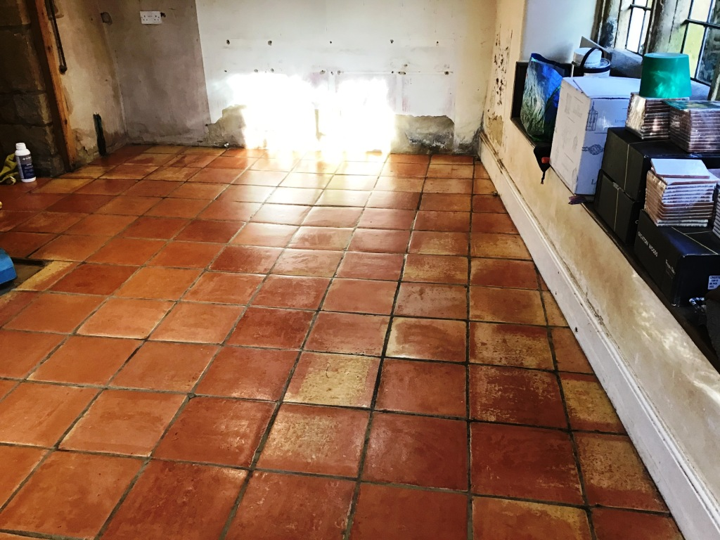 Terracotta Tiled Floor After Restoration Flore Village