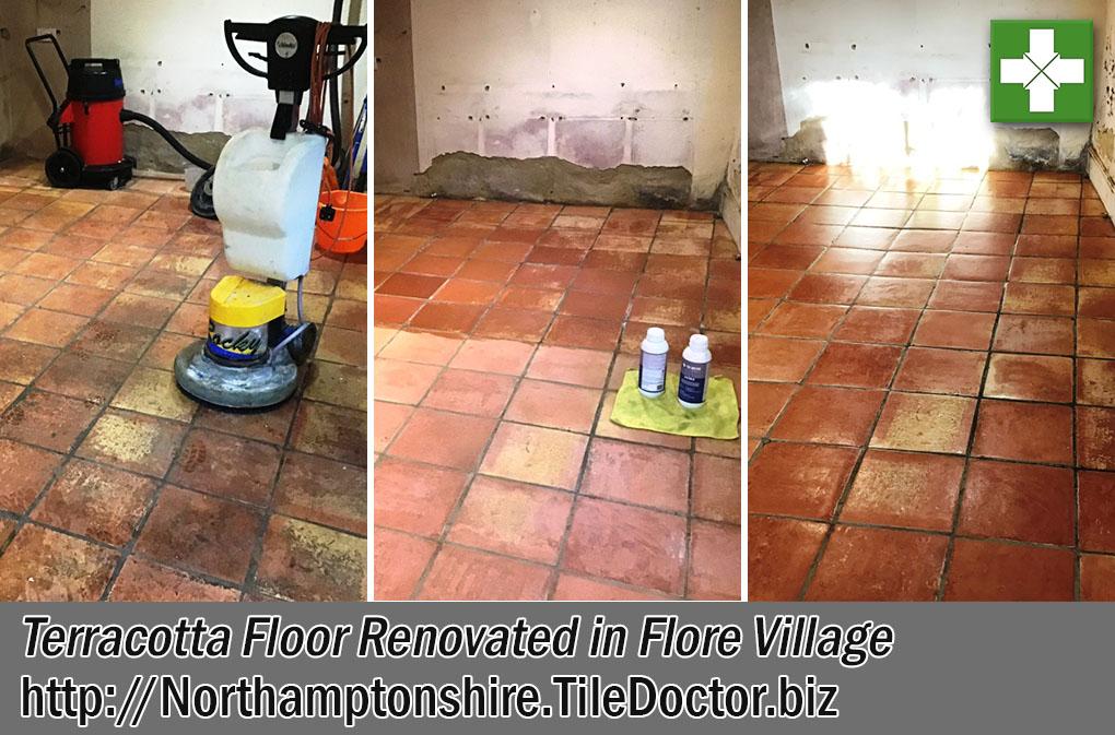 Terracotta Tiled Floor Before After Renovation Flore Village