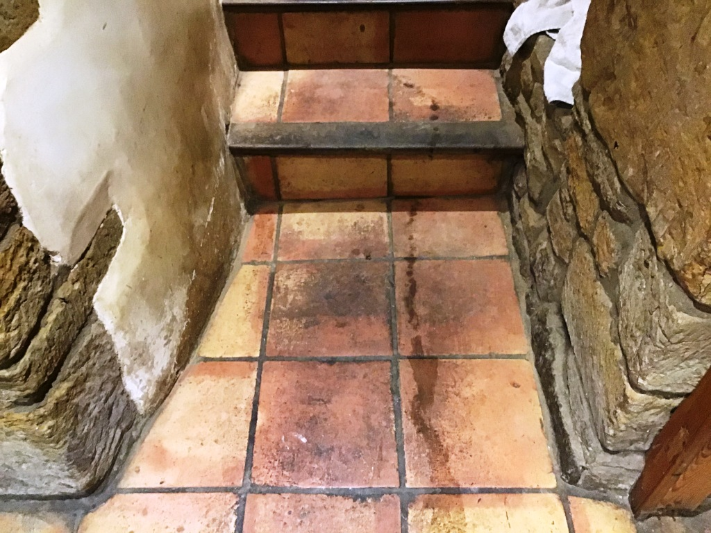 Terracotta Tiled Floor Before Restoration Flore Village