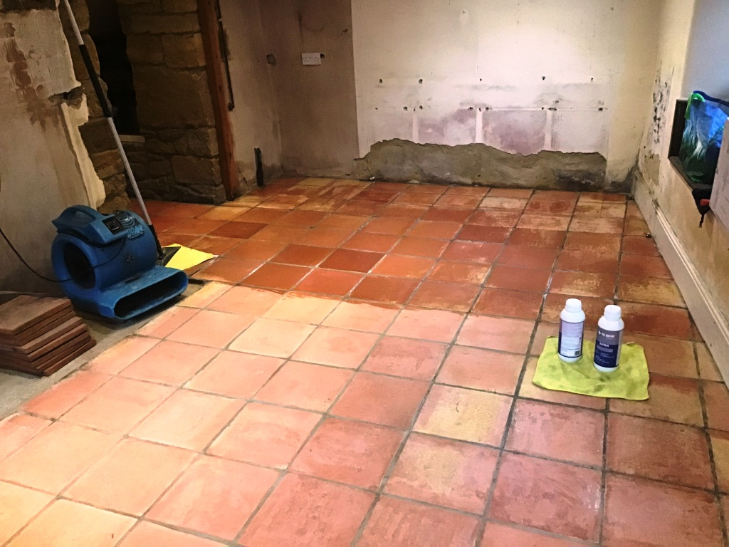 Terracotta Tiled Floor During Restoration Flore Village