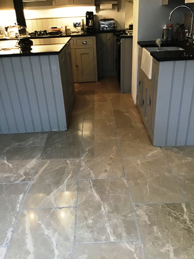 Limestone Tile and Stained Grout After Renovation Wellingborough