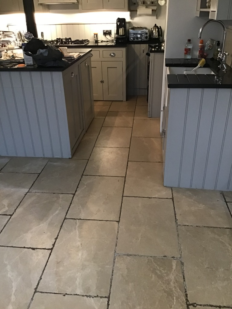 Limestone Tile and Stained Grout Before Cleaning Wellingborough
