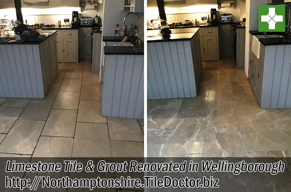 Limestone Tiled Floor Before and After Renovation Wellingborough