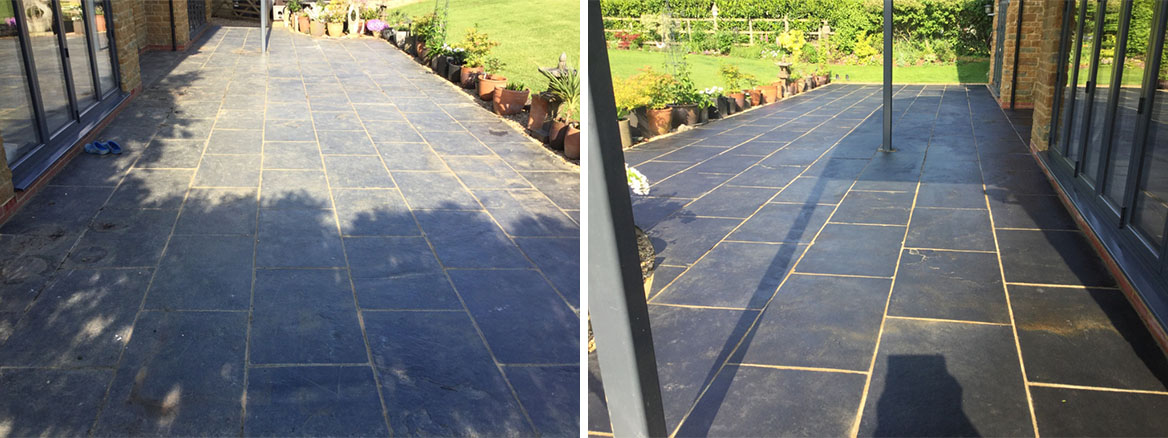 Black Limestone Patio Before and After Cleaning Walgrave
