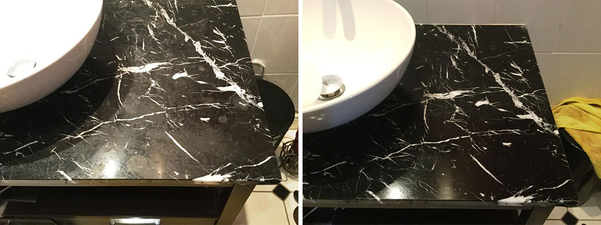 Black Marble Vanity Worktop Before and After Polishing in Northampton