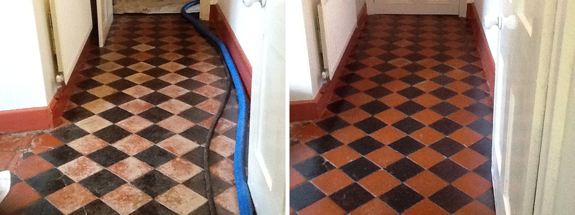 Black and Red Quarry Tiles Welton Before and After Cleaning