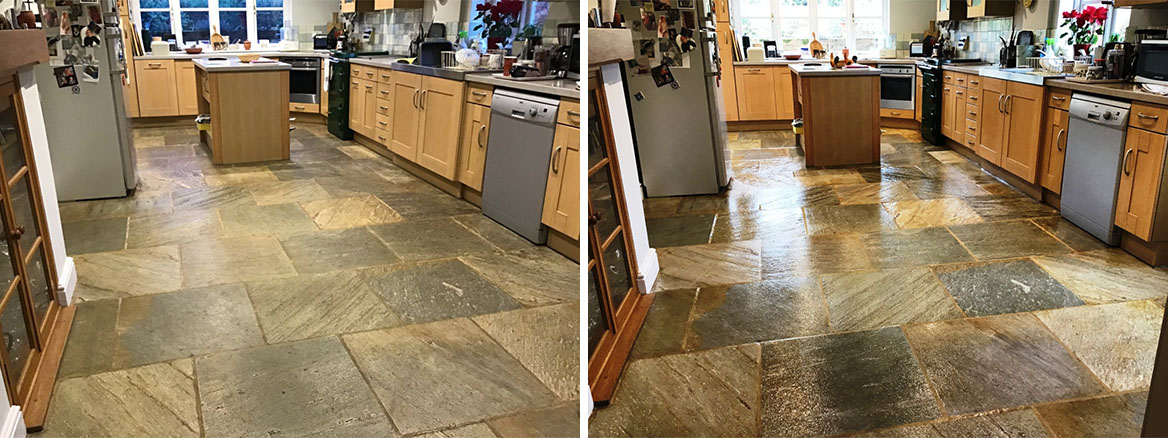 Chinese Riven Slate Kitchen Floor Before and After Sealing Ravensthorpe