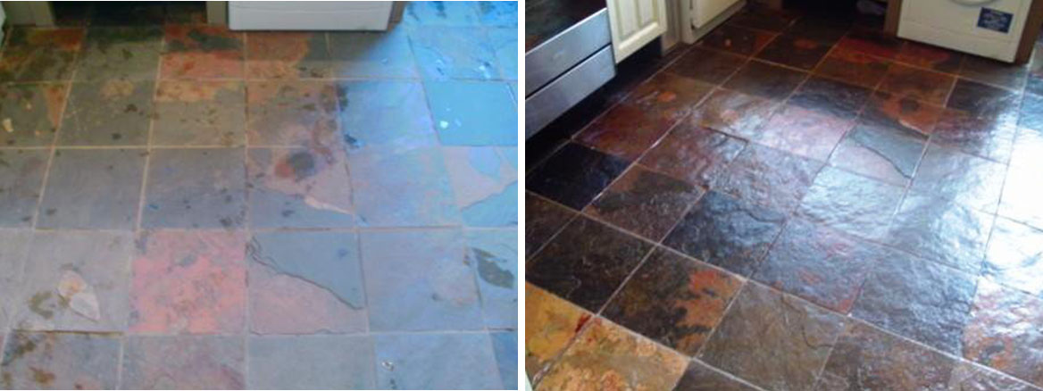 Chinese Slate floor before after