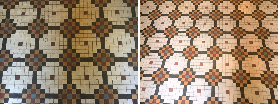 Edwardian Mosaic Tiled Hallway Floor Before and After Cleaning Abington Park