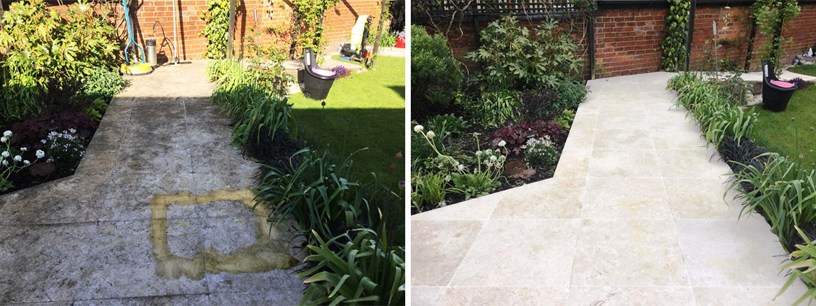 Egyptian Marble Patio Path Bozeat Before and After Cleaning