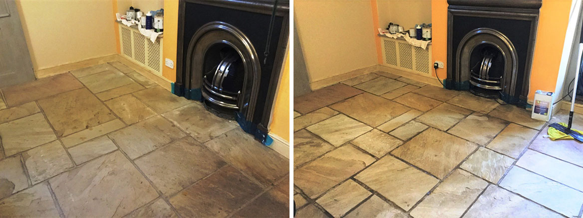 Flagstone Floor Before and After Clean Seal Long Buckby