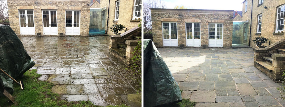 Flagstone Patio Before and After Cleaning Stanwick