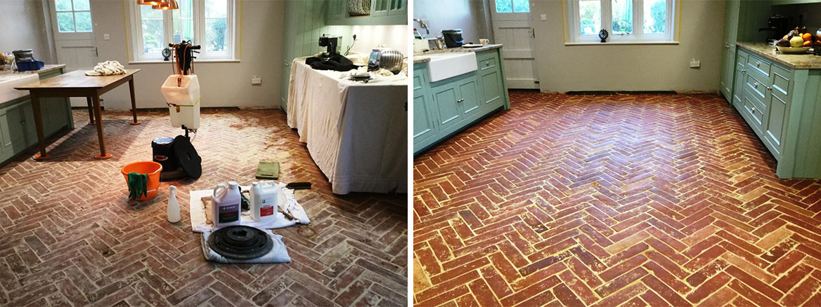 Herringbone Design Terracotta floor Before and After Cogenhoe