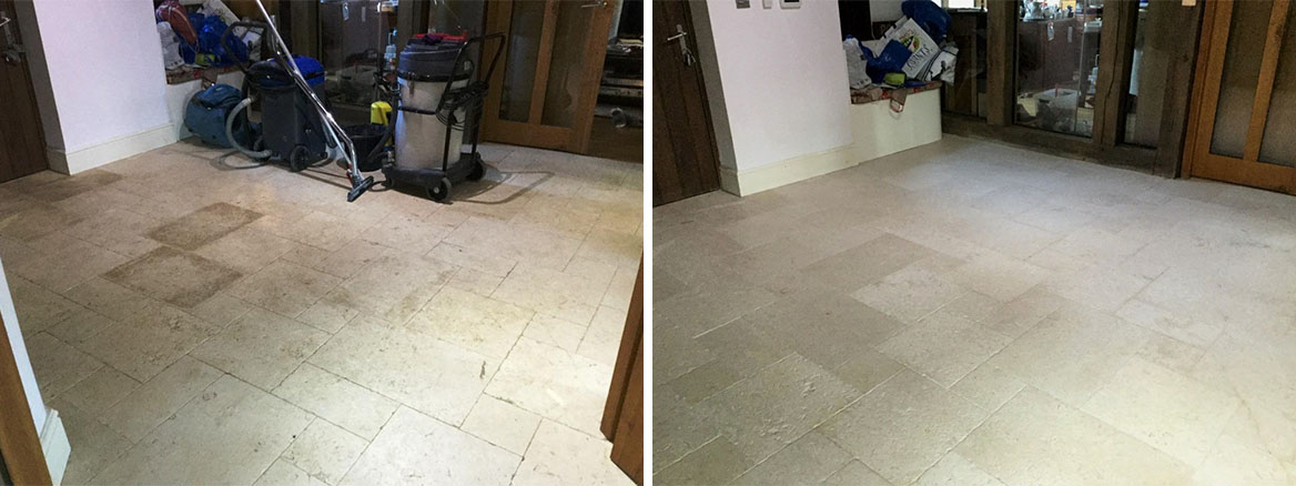 Honed Limestone Floor Before and After Restoration Upper Boddington