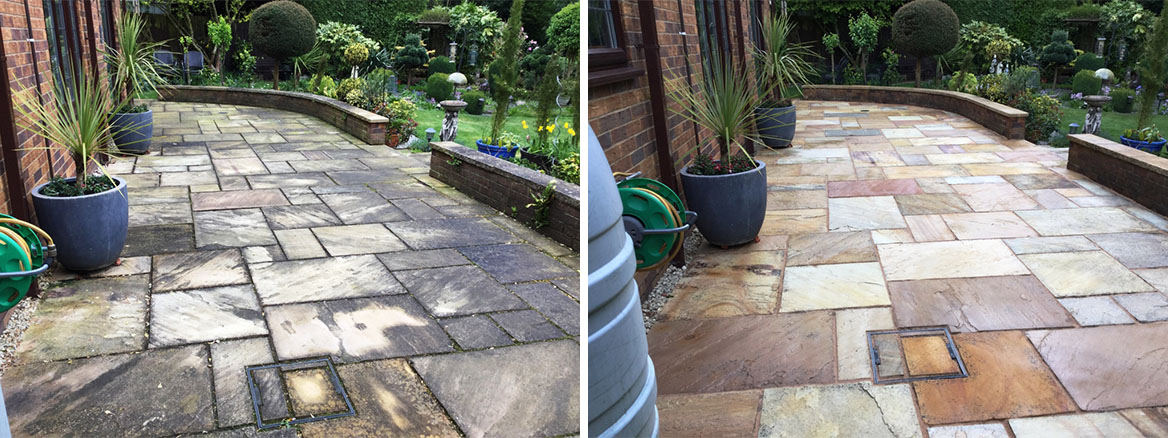 Indian Sandstone Patio Before and After Sealing Northampton