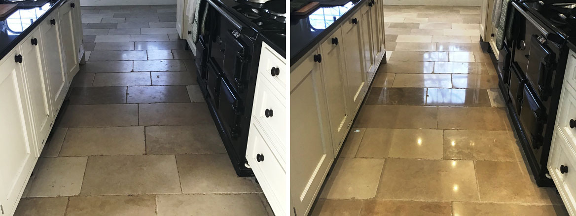 Limestone Floor Tiles Before and After Polishing Stanwick