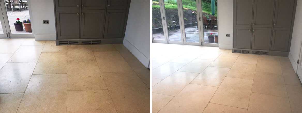Limestone Floor With Grout Haze Before and After Cleaning Clipston