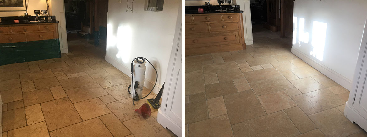 Limestone Kitchen Floor Before and After Renovation Yelvertoft