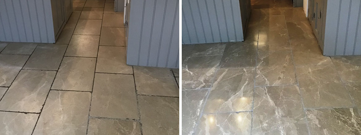 Limestone Tile and Stained Grout Before and After Renovation Wellingborough
