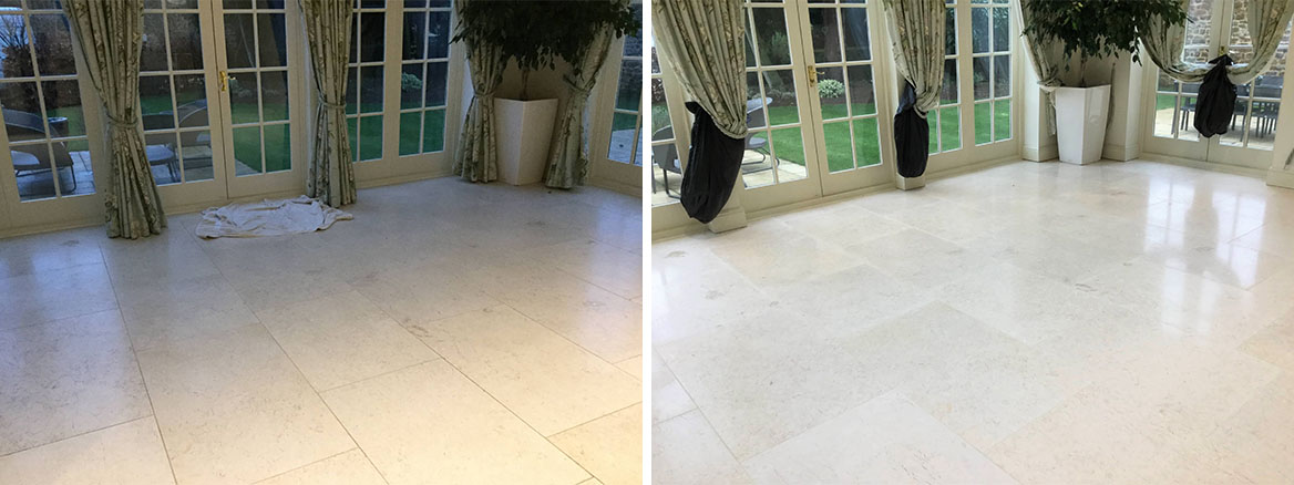 Limestone Tiled Dining Room Floor Before and After Renovation Ecton