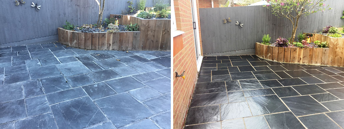 Restoring a Riven Slate Patio Suffering from Grout Haze in Wollaston
